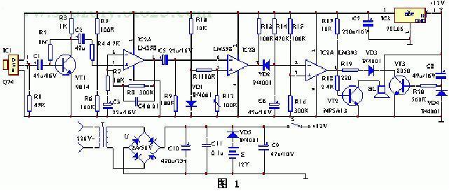 红外线传感器、信号放大电路、电压比较器、延时电路和音响报警电图片
