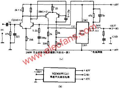 简洁至上的200w全对称功放电路原理图