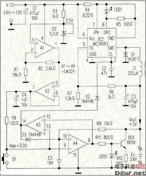 手机锂电池充电器电路