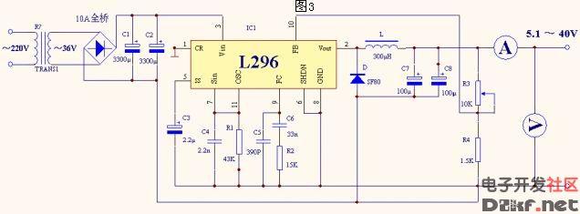 l296组成的直流可调稳压电源电路