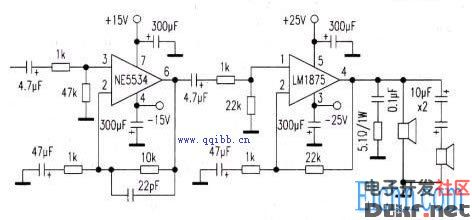 ne5534+lm1875构成的20w高保真功放电路