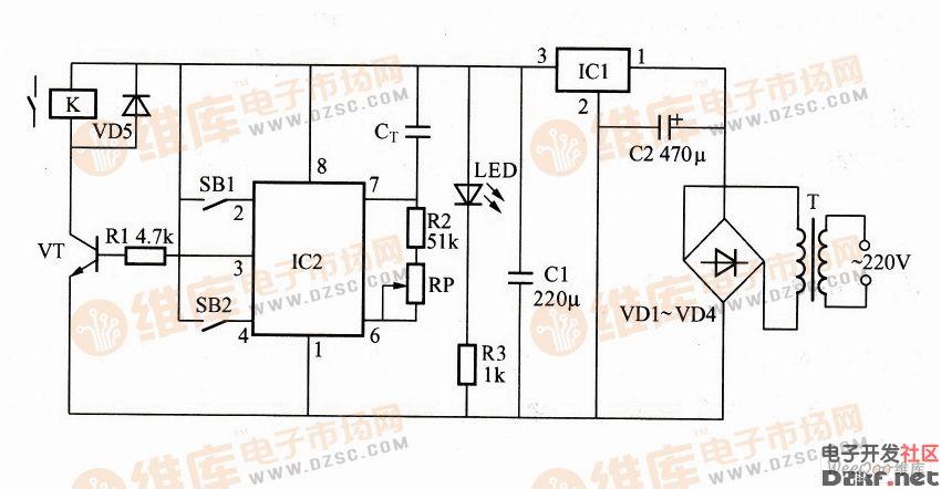 利用s-8081b构成的长时间定时控制器电路图