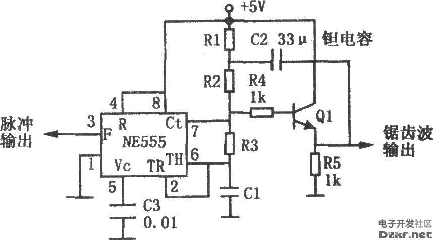 用555构成的锯齿波产生电路