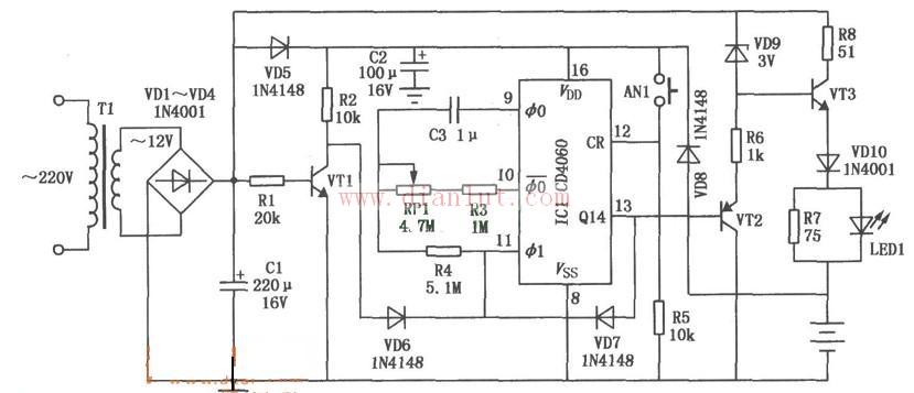 具有定时功能的镉镍电池充电器(cd4060)电路图