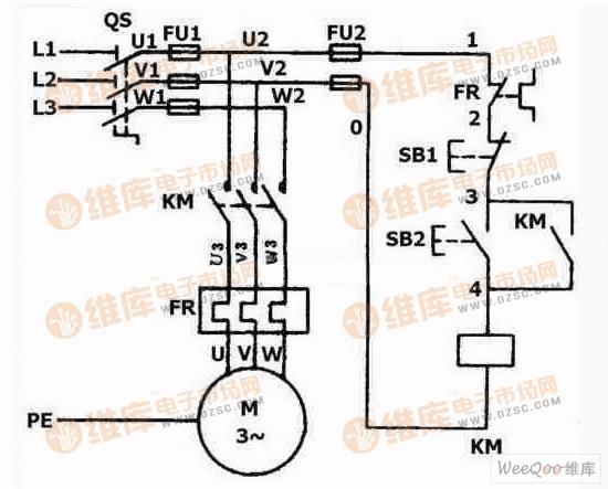 线路,由于接触器自锁触头和主触头在电源断电时已经断开,使控制电路和