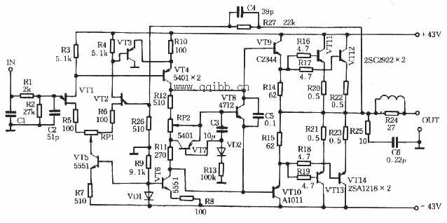 80w甲类功放电路图