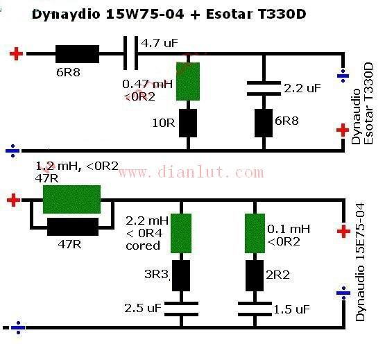 技术资讯 无源音频分频器原理图   下面是无源音频分频器原理图的电路
