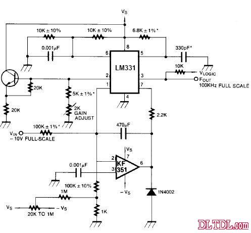 高精度电压频率转换器,100khz的满量程