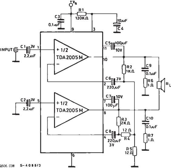 功放tda2005典型应用电路图