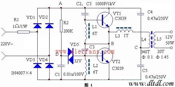 电子变压器电路图工作原理:本电子变压器工作原理与开关电源相似,由
